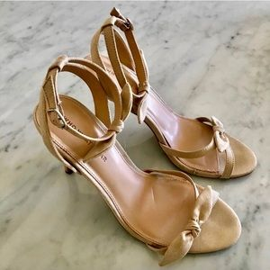 WHO WHAT WHERE nude ankle strap heels w/ bows sz 8